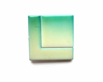 S A L E * * * * Vintage Geometric Square Pin | Mint Green