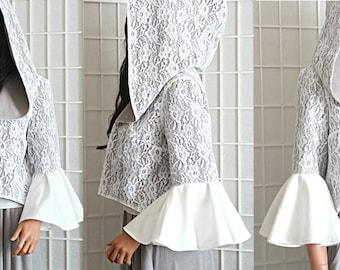 Bohemian Short Jacket Bell Sleeves Grey Lace Romantic Oversized Hood Women's Clothing Size Medium