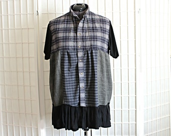 Upcycled Plaid Top Tunic Short Sleeve Button Up Shirt Recycled Clothing Plus Size 2x 3x