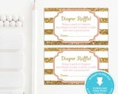 Gold Baby Shower Diaper Raffle Ticket - Gold Glitter Baby Shower - Gold Glitter Printable - Girl Baby Shower Printable - Pink and gold
