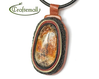 Clearance: Natural Baltic Amber Necklace - Leather and Amber Pendant Necklace