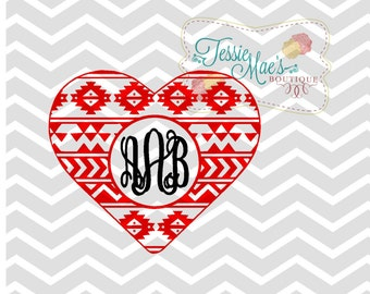 Aztec Monogram Heart, Valentine Heart, Valentine's Day, Aztec Heart, Valentine's Heart, SVG, DXF, EPS, Instand Download