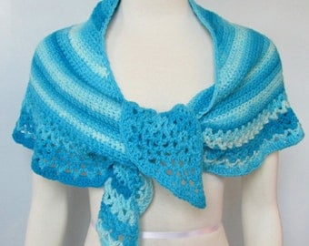 Shades of Blue Crescent Shawl handmade crocheted wrap