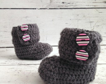 Crochet Baby Ankle Boots,  6-12 Months, Ugg Style, READY TO SHIP
