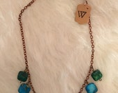 Malachite & turquoise stone mix vintage copper chain multi stone short chain handmade unique statement necklace green and blue stones