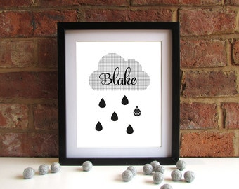 Bold Modern Baby Child Name Keepsake Print - Cloud - Raindrops - Monochrome - Unisex - 8x10 inch