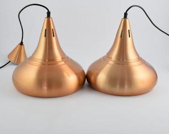 Pair of Brushed alumininum copper colored carambole biljart, pool or snooker lamps (2X), Price for Both