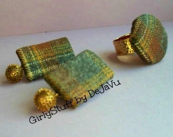 90s/80s recycled fabric jewelry ring and earrings, wool plaid, fall winter, adjustable gold plated ring base, handmade, Greece