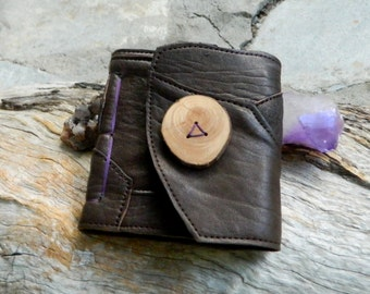 Earthy Travel Notebook with Natural Wooden Button Recycled Leather Journal Pixie Pocket Notebook