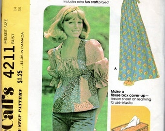 "1970s Women's Peasant Top or Dress Pattern - Size 14, Bust 36"" - McCall's 4211"