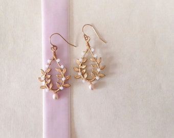 Gold 'Adea' Leaf Earrings - Hand Wired Swarovski Crystal and Freshwater Pearl leafy brass earrings