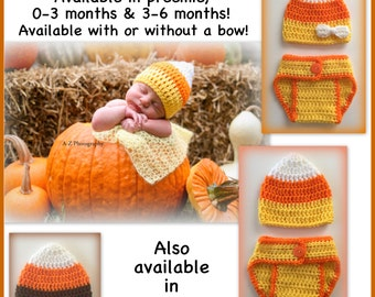 READY TO SHIP Candy corn baby outfit, crocheted hat and diaper cover, preemie, 0-3 months newborn 3-6 months photo prop Halloween baby brown