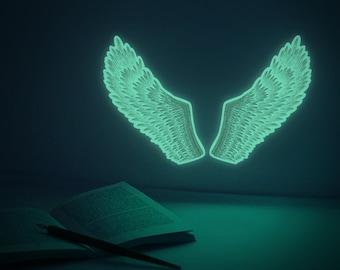 Luminous Angel-Wings S-size  ( glow-in-the-dark Nightlight deco-sticker )