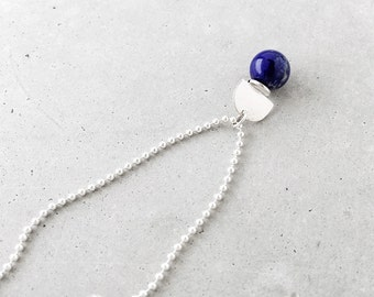 Gem Ball Arch Pendant / sterling silver ball chain / blue sodalite