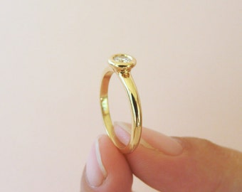 Simple Round Diamond Solitaire Engagement Ring | 18k Yellow gold band, Minimalist diamond engagement ring, Ethical Diamond for woman