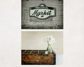 Rustic Kitchen Photography, Set of 2 Prints, Wall Art, Country Farmhouse Decor, Dining Room Pictures