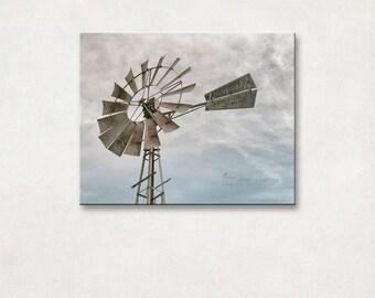 Windmill Gallery Wrap, Rustic Landscape Photography, Canvas Wall Art, Farmhouse Decor