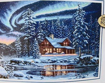 Dimensions Gold Collection Aurora Cabin Counted Cross Stitch Kit Mint unopened package