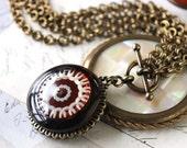 LUXE Tortoiseshell Bakelite Necklace Long to Short, Rich Rootbeer Bakelite Vintage Button Necklace, Large Pendant Button Necklace veryDonna