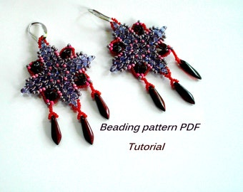Beaded earrings Christina. Superduo Earrings Pattern. Beading Tutorial. Beading pattern PDF. Instant download.