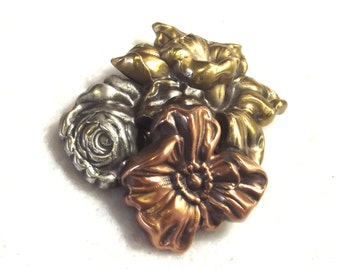 Tri-Color Metal Flower Pin -  Vintage Costume Jewelry - Spring Flower Brooch - Mothers Day Jewelry