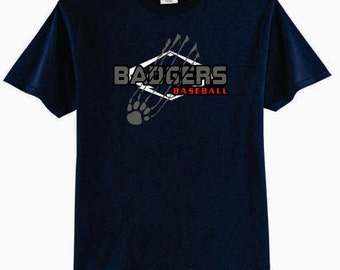Badgers Baseball 50/50 Cotton/Poly T-Shirt