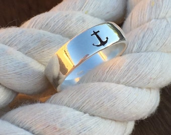 Sterling Silver Anchor Band / Anchor Ring / Anchors Aweigh / Anchor Jewelry / Lake Girl Jewelry / Nautical Bridesmaid Gift / Delta Gamma