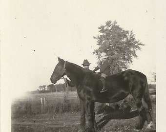 On Mare Mountain - Vintage 1920s Man, Child and Horse Photograph