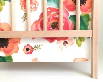 Crib Skirt Floral Dreams. Baby Bedding. Crib Bedding. Crib Skirt Girl. Baby Girl Nursery. Floral Crib Skirt. Coral Crib Skirt.