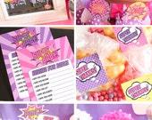 Girl Superhero Birthday Decorations Package pink purple DIY Printable