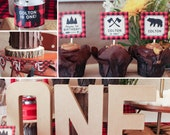 Lumberjack first birthday party decorations boy 1st printable package