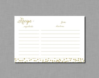Gold Glitter Recipe Cards Bridal Shower Amelia BR62 Printable - Instant Download