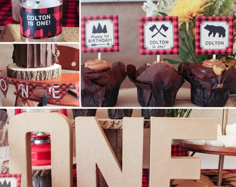 Lumberjack first birthday rustic party decorations boy 1st James MB15 Printable