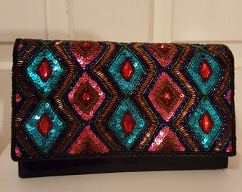 JEWELED EVENING BAG // Gorgeous Vintage 80's Party Beaded Sequin Bejeweled Clutch 90's Black Party