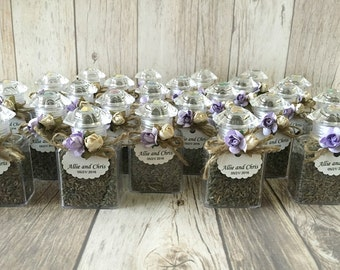 LAST ONE 25 dried organic lavender buds favors in plastic bottles with flowers and personalized tags