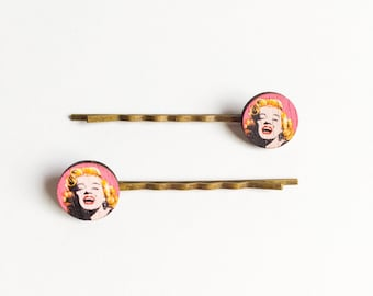 American pop art marilyn monroe Andy warhol bobby pin 2set pink-modern art-hair accessory-kitsch-hair pins-gift for her-hipster-love factory