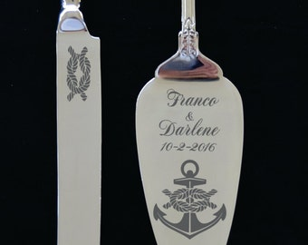 Anchor with Tieing the Knott Wedding Cake Knife and Server with Names and Date FREE