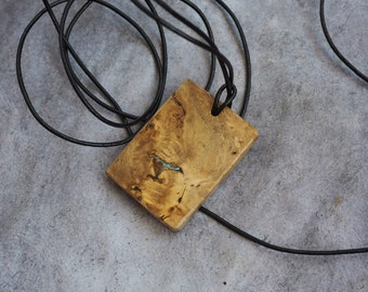 Wooden pendant - Burl wood / turquoise inlay