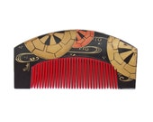 Beautiful Antique Japanese Lacquer Comb. Kushi Comb, red, black and gold leaf. Lovely Japanese accessory for use with traditional kimono.
