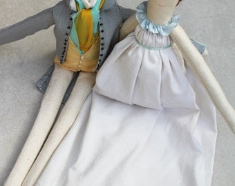 Jane Eyre & Mr Rochester Ragdolls: Handmade from Vintage and Recycled Materials, Cloth Doll, Regency Dolls, Jane Austen, Pride and Prejudice