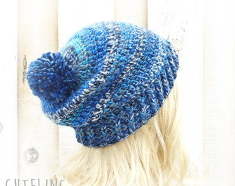 Womens hat Crochet beanie Blue striped hat with pompom Vegan hat Winter hat womens knitting hats 'RīGA'