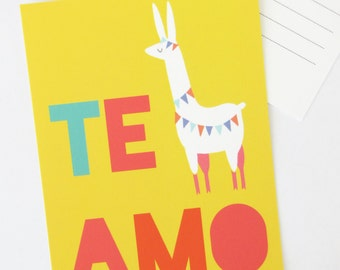 Te Amo Llama postcard, Blank Note card, I love you, Spanish card, bright fiesta colors, Mexican wedding, anniversary, couple, Valentine