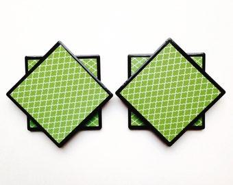 Green Coasters/Tile Coasters/Coaster Set/Decoratvie Tiles/Coasters/living room decor/green decor/tabletop decor