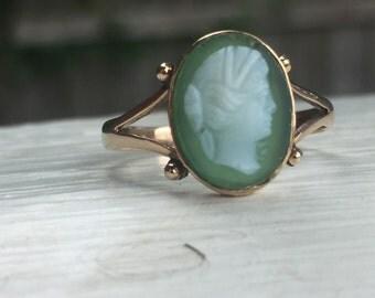 Antique English Cameo Ring - Hardstone Green Cameo - 9ct Gold Split Shank