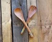 hand carved wooden spoon/fork set