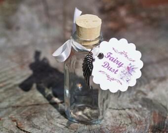 20 Fairy Dust Favor Bottles 2oz Custom Fairy Wing Charm Clear Glass Bottles Corked Glass Bottle Fairy Party Princess Party Pixie Dust
