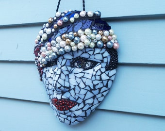1920 Lady Glass Mask, Mosaic, Garden Mosaic, Patio Decor, Home Decor, Wall Hanging, Face, Stained Glass Flapper, Roaring 20's, Mosaic Art