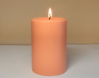 """Peach Soy Pillar Candle Unscented - Choose 4"""", 6"""", 9"""" Height"""