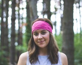 hot pink, neon, bright colored, workout headband, fitness accessories, woman's head wrap