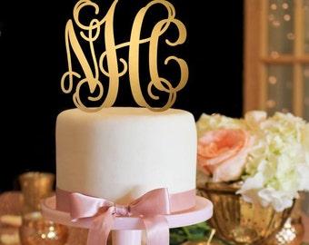 Wedding Cake Topper - Vine Monogram Cake Topper - Gold Cake Topper